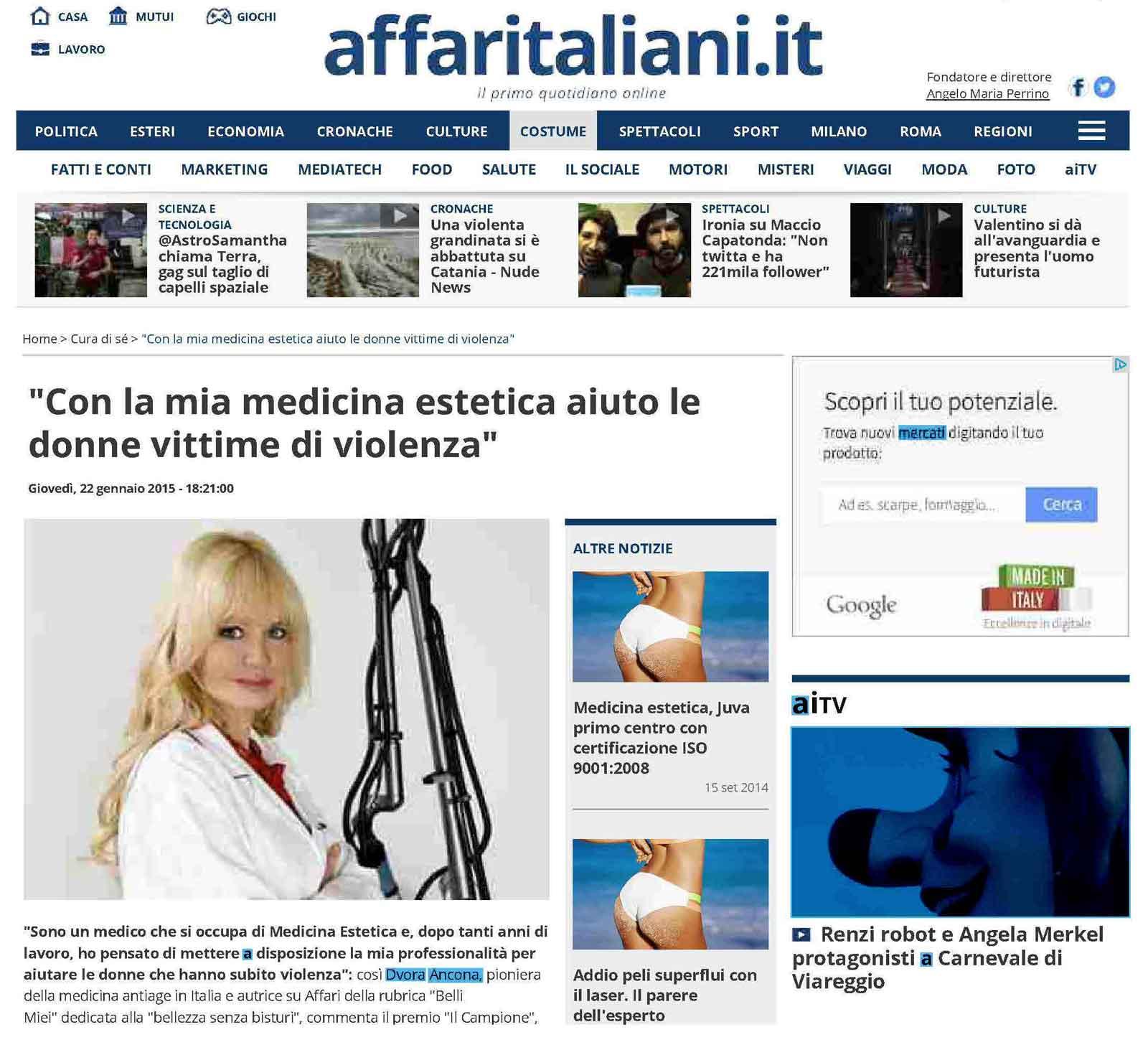 Associazione d.v.o.r.a. su affaritaliani 22 gennaio