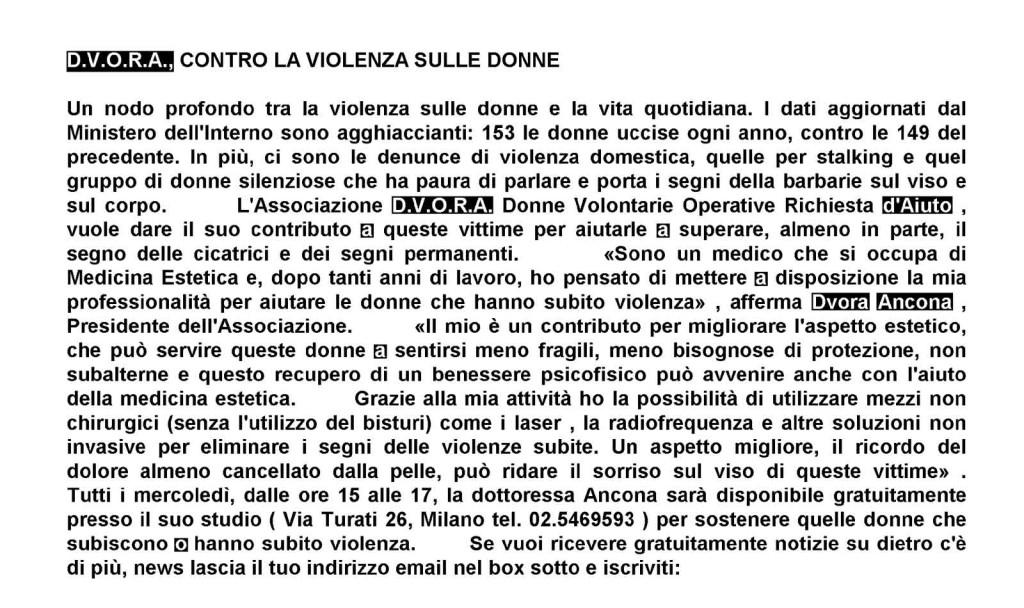 L'Associazione D.V.O.R.A. aiuta le donne che hanno subito violenze